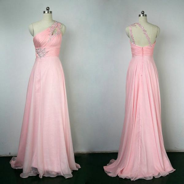 Beaded Prom Dress,One Shoulder Prom Dress,Pink Prom Dress,Fashion Prom Dress,Sexy Party Dress, New Style Evening Dress