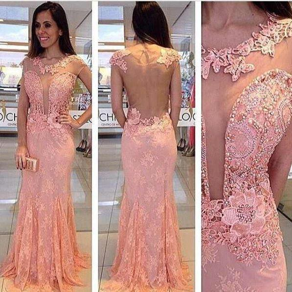 O neck sleeveless blush lace party dress,sexy sheer evening dress,mermaid formal dress,beaded lace dress for women,elegant evening gowns