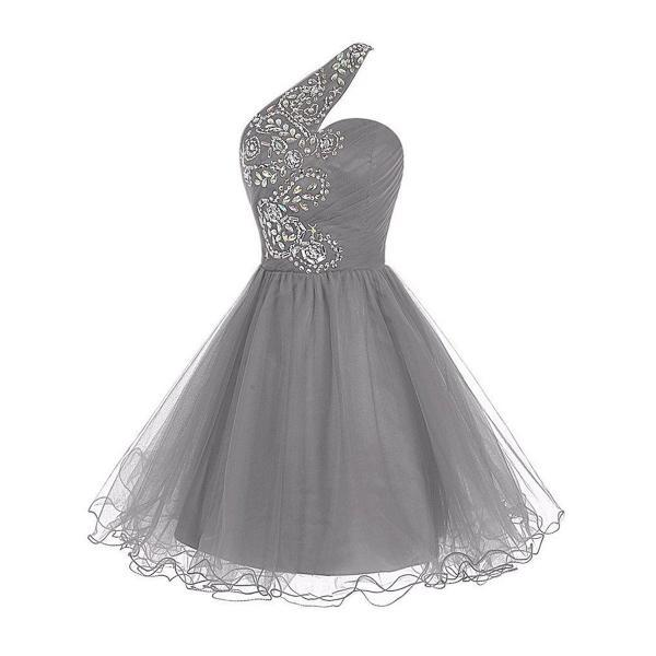 Flower Beaded One Shoulder Ruched Prom Dress, Light Grey Lace-up Short Prom Dress, Sleeveless Princess Mini Tulle Prom Dress