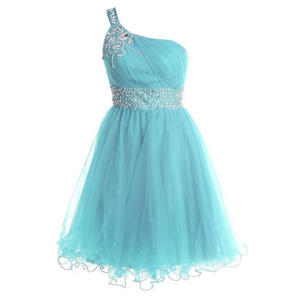 Trendy One Shoulder Short Prom Dress, Sequins Belt Lace-up Light Blue Prom Dress, Flower Beaded A-line Mini Tulle Prom Dress