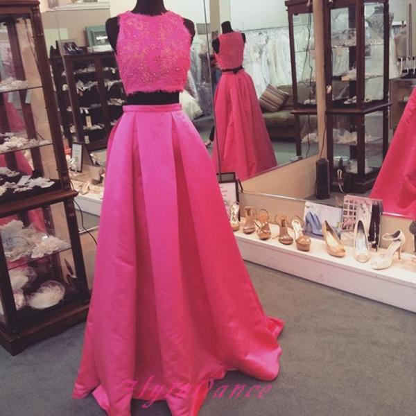 Scoop Sequins Lace Appliques Fuchsia Two-pieces Ball Gown Long Satin Prom Dress