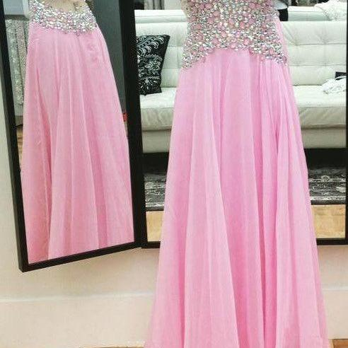 Pink Backless V Neck Beaded Long Chiffon Prom Dress With Straps