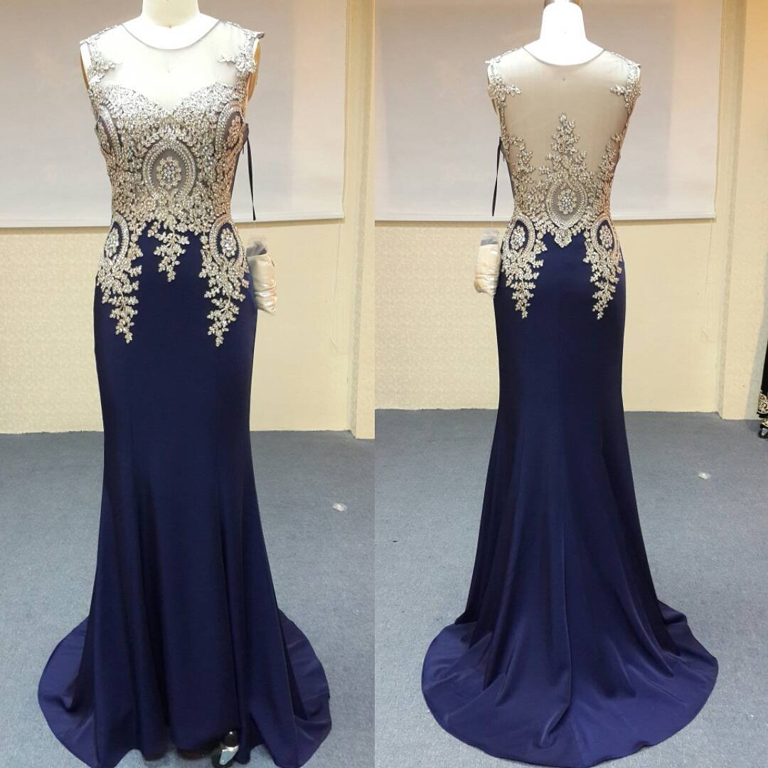 Gold Lace Appliques Long Navy Blue Mermaid Prom Dresses